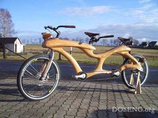 Единственный в мире двухместный велосипед из дерева (9 фото)