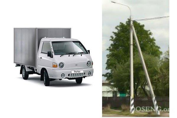 Последнее танго грузовика и фонарного столба (2 фото)