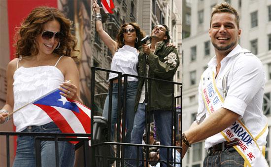 Дженнифер Лопес, Марк Энтони и Рики Мартин на параде (5 фото)