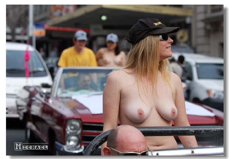 Topless Female Motorcycle Passenger Editorial Stock Photo