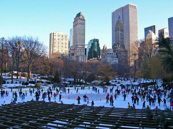 Лёд в центральном парке Нью Йорка, не пустует даже ночью
