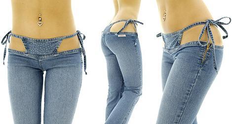 Сексуальные, откровенные бикини-джинсы