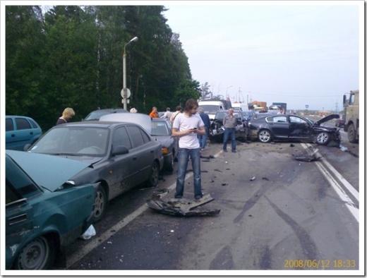 ДТП в России на Киевском шоссе. 13 машин