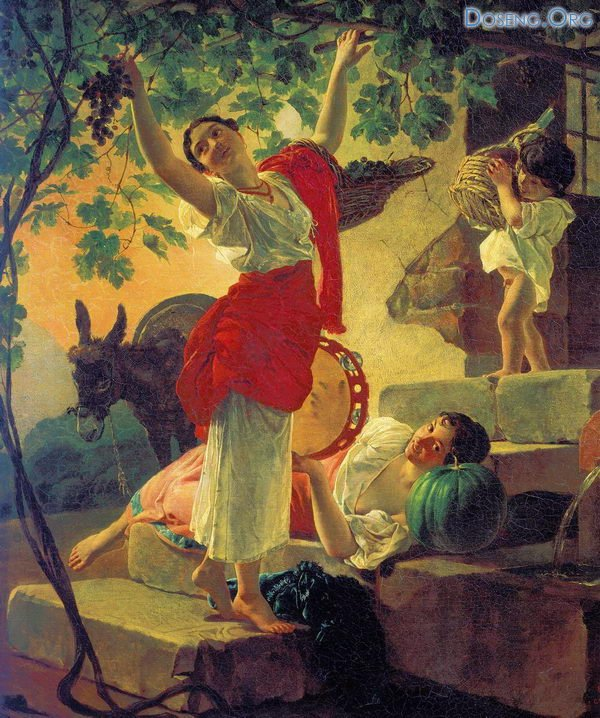 Bryullov Karl - Девушка, собирающая виноград в окрестностях Неаполя