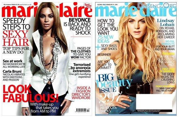 Бейонсе (Beyoncé) и Линдси Лохан (Lindsay Lohan) в октябрьском номере  ...