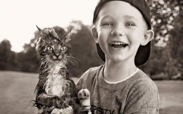 Дети и животные (17 фотографий)