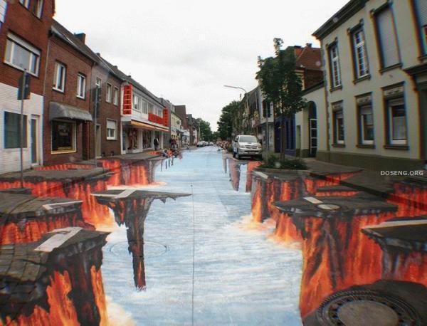 Классная оптическая иллюзия - Адская улица (7 фото)