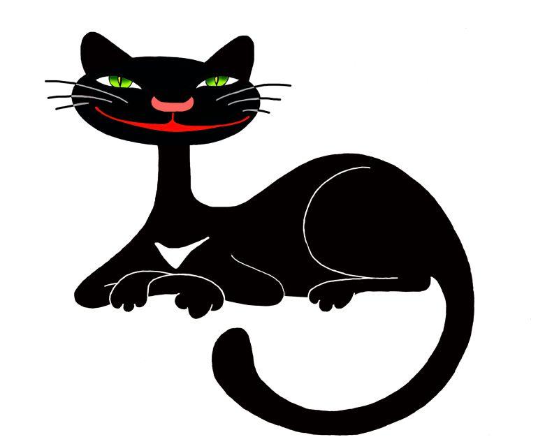 Рисунки черных смешных кошек, траура скорби