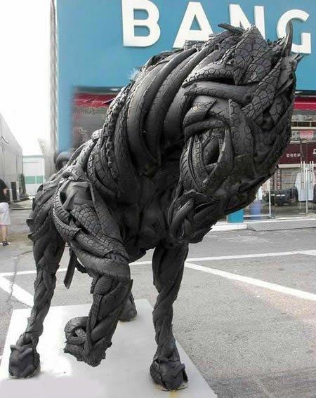 Работы корейского скульптора из старых покрышек