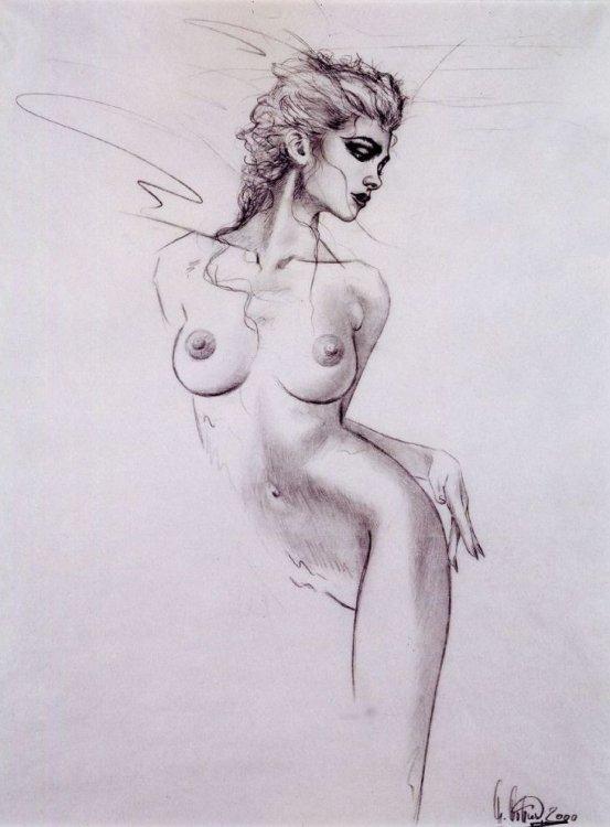 девушка голая рисованная