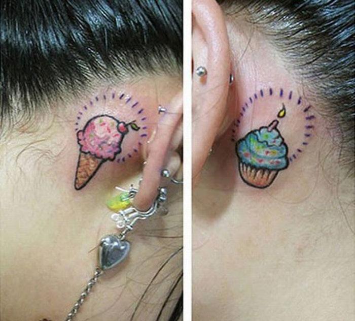 Дурацкие татуировки на ушах (13 фото)
