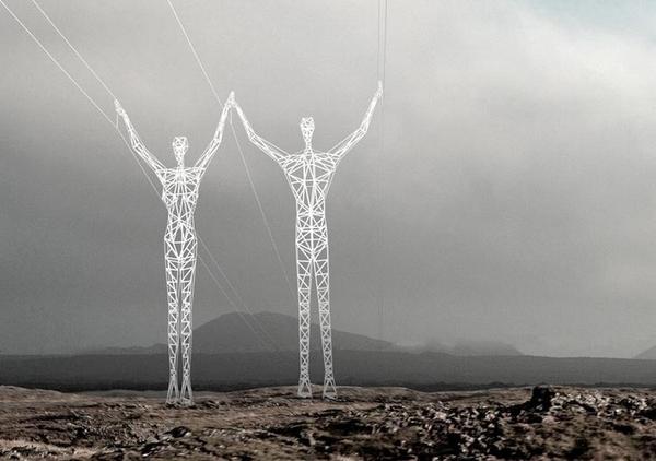 Креативные электроопоры в Исландии (3 фото)