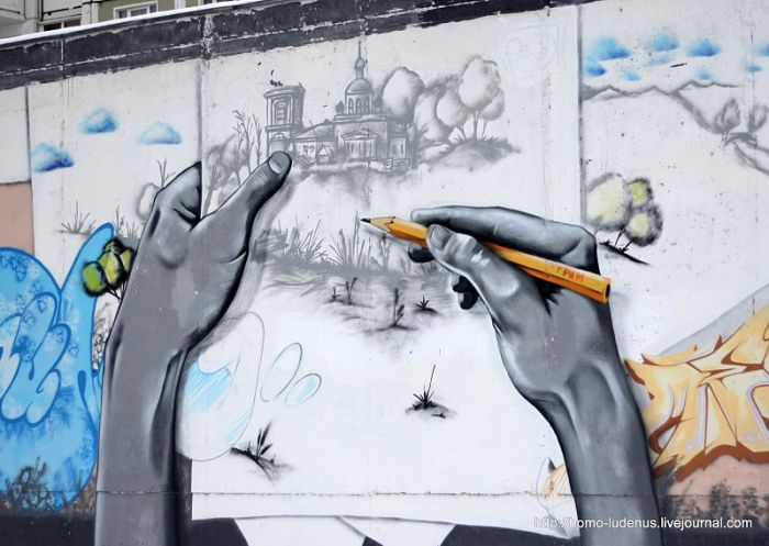 Классное граффити от русских мастеров