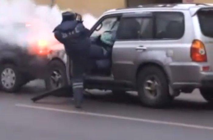 Джип протаранил 16 авто на Садовом кольце