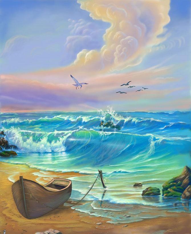 Рисованная графика море