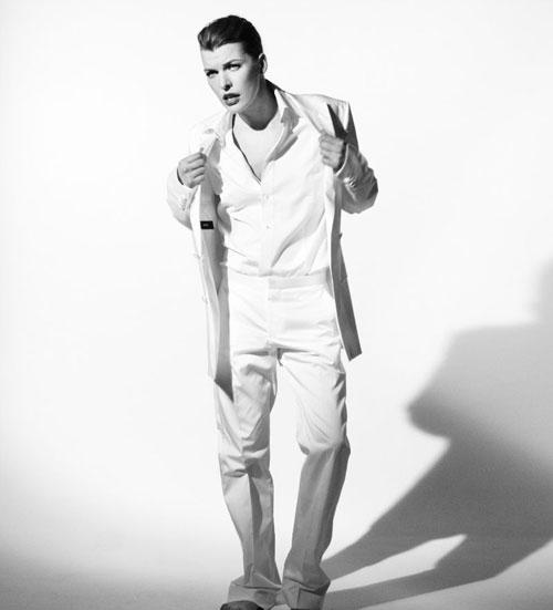 Мужской образ Миллы Йовович в Vogue