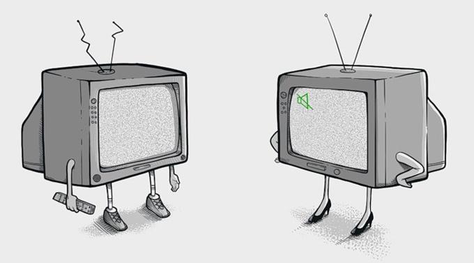 Телевизор в прикольных картинках