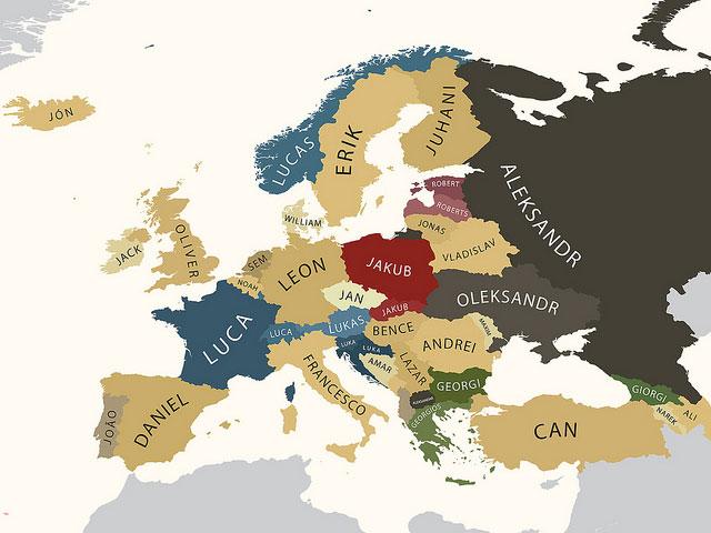 Самые распространенные мужские и женские имена по странам