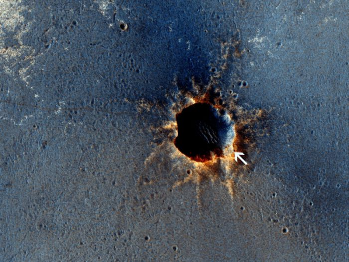 Maria crater as imaged from Mars orbit on March 1, 2011, Sol 2524.