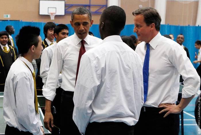 Барак Обама и Дэвид Кэмерон сыграли в настольный теннис (6 фото)