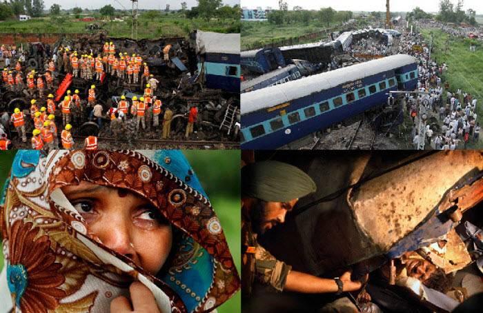 Пассажирский поезд сошел с рельсов в Северной Индии (16 фото)