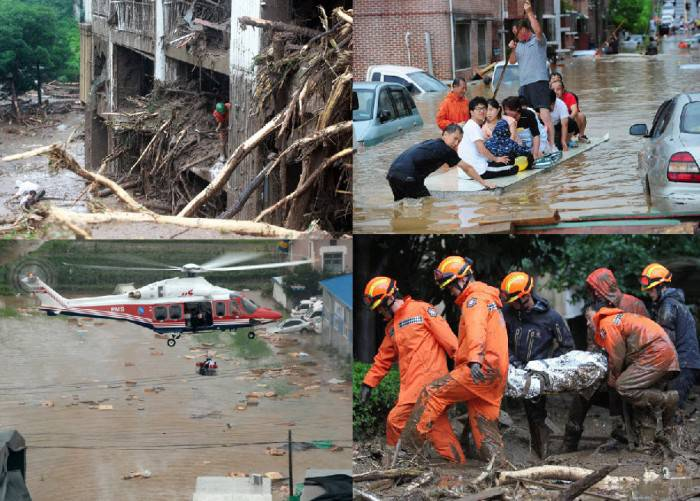 Последствия проливных дождей в Южной Корее (29 фото)