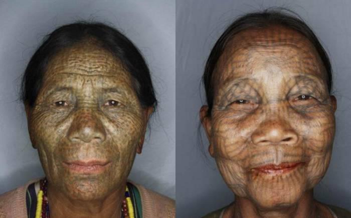 Татуированные лица женщин народности чин