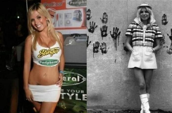 Девушки в юбках. Тогда и сейчас (18 фото)