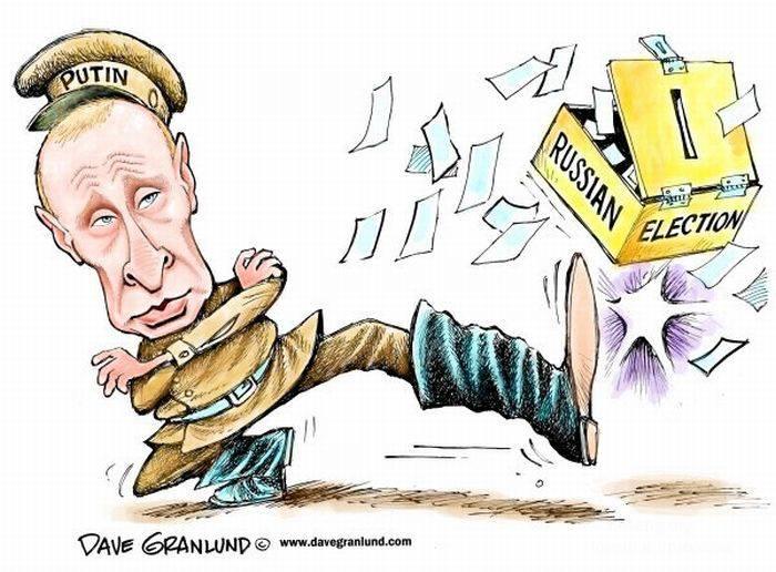 Иностранные карикатуры на выборы в России