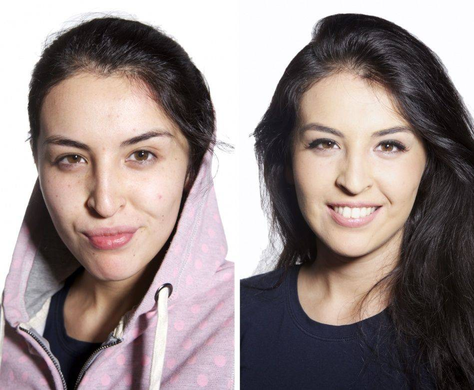 Women With and Without Makeup (10 pics) .