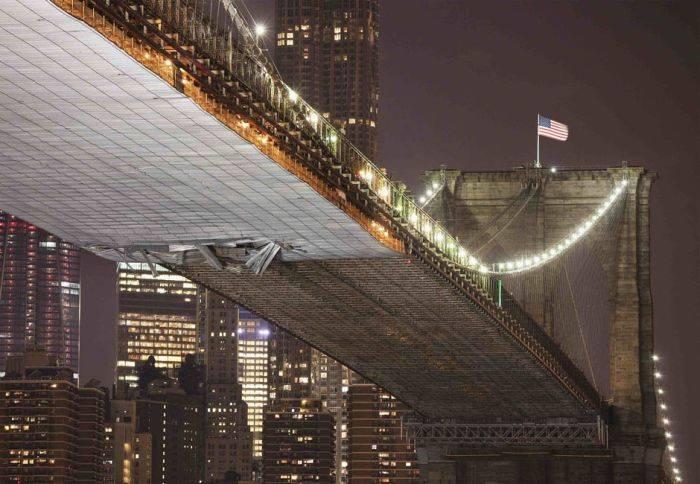 Происшествие с Бруклинским мостом в Нью-Йорке (7 фото)