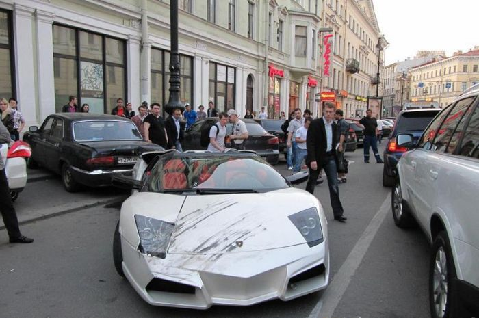 Авария Lamborghini (4 фото)