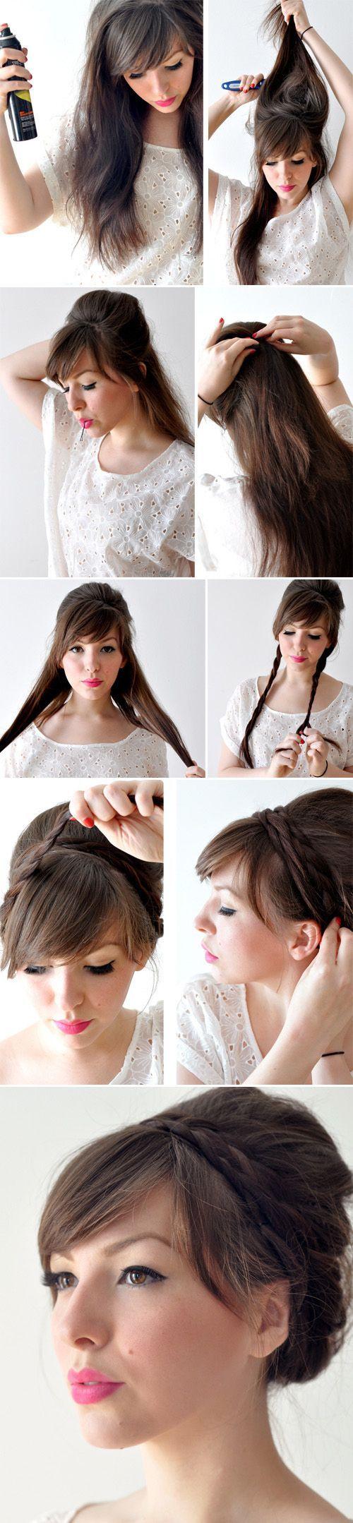 Причёски на средние волосы с челкой фото пошагово в