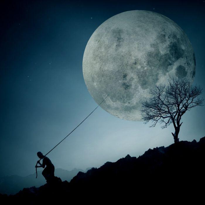 Текстом информация, классные картинки луны