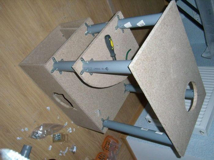 Как делать домик для кошки своими руками из коробки