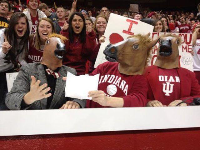 Забавные фото людей в лошадиной маске