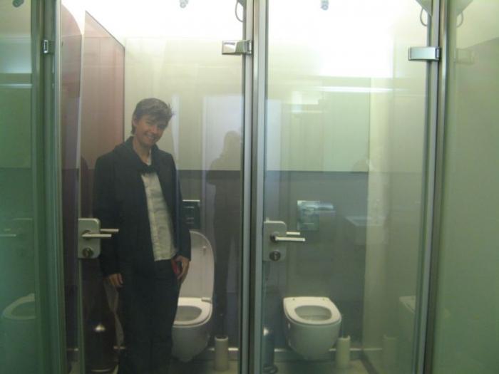 Необычный туалет с прозрачными стеклянными дверьми
