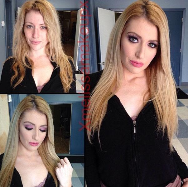 Девушки-порнозвезды до и после макияжа