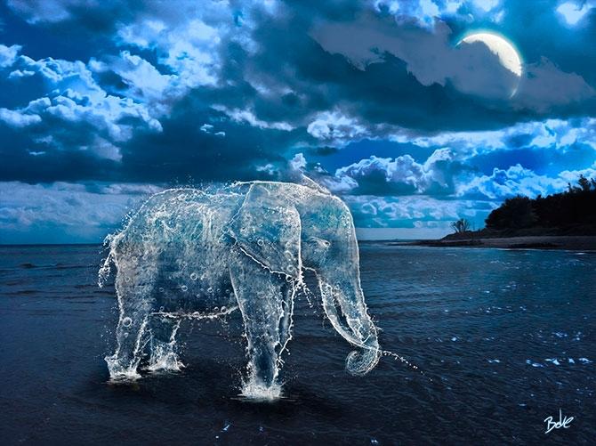 Вода и лед в цифровых работах художника