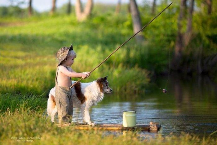рыбак с собакой рисунок