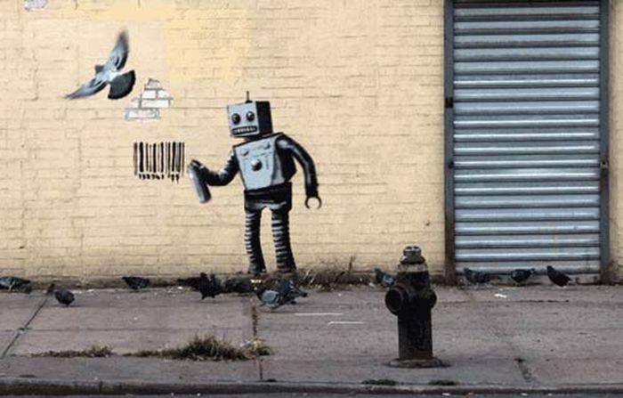 Анимированные граффити Бэнкси