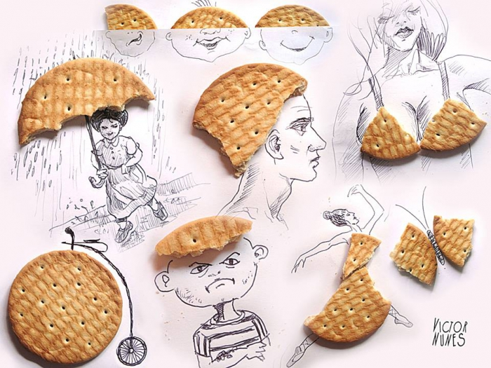 Креативные рисунки из еды