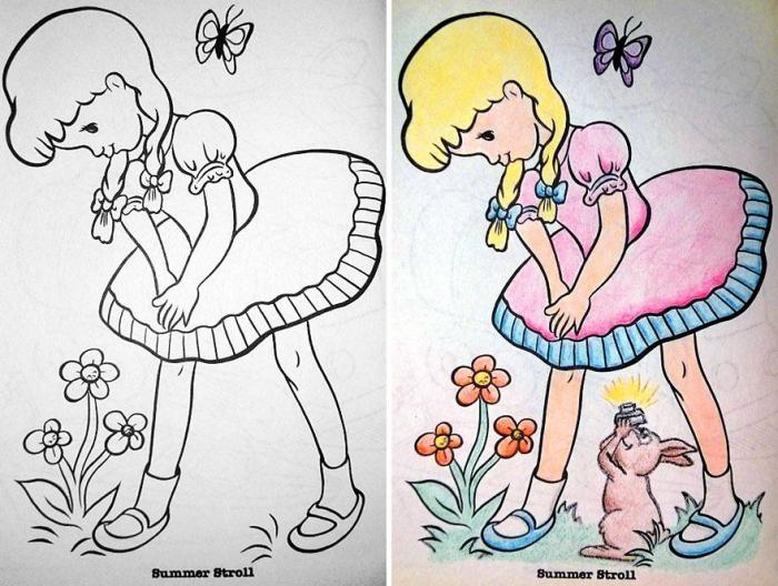 Детские раскраски в руках взрослого