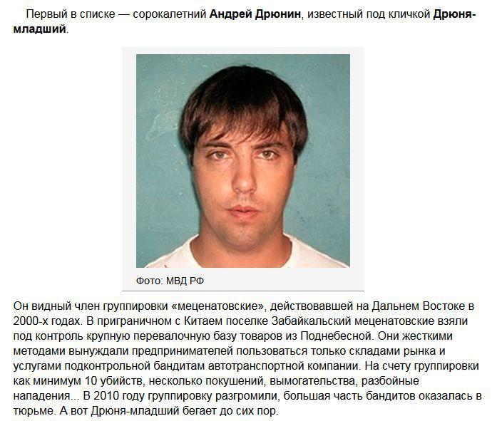 Самые опасные и разыскиваемые преступники России