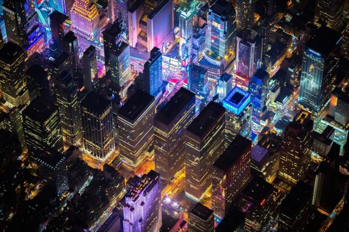 Ночной Нью-Йорк с высоты 2285 м