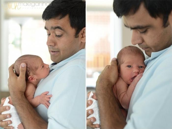 Отцы впервые видят своих новорожденных детей