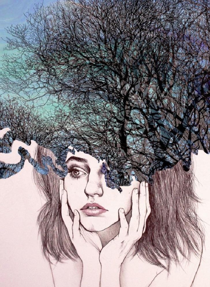 Картинки девушка нарисована необычно