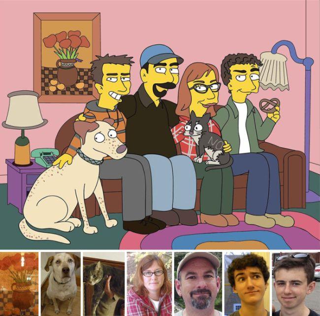 Девушка превращает обычных людей в «Симпсонов»