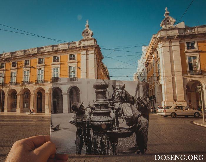 Исторические фото на фоне современных мест