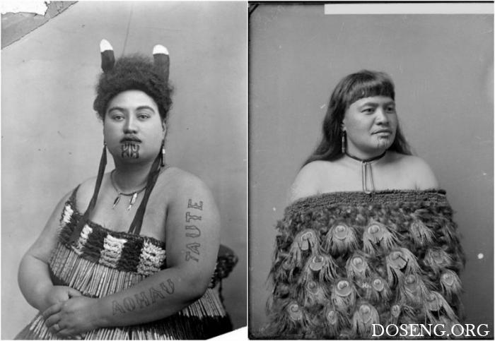 Татуировки на подбородках женщин народа маори